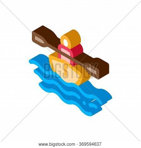Man In Boat With Oar Canoeing Icon Vector Isometric Sign. Color Isolated Symbol Illustration