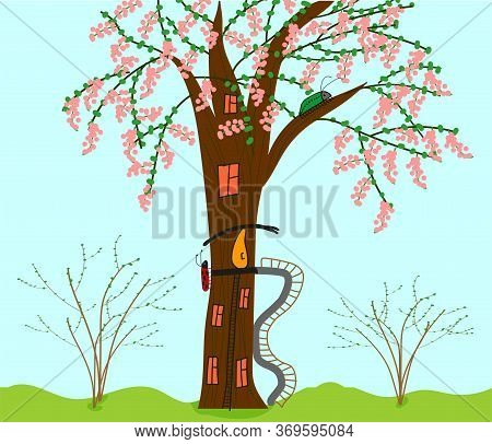 A Blossoming Tree-house For Beetles With Orange Windows, Two Stairs And An Unusual Yellow Entrance D