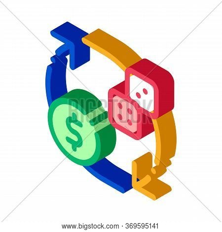 Exchange Sign Of Dice For Money Betting And Gambling Icon Vector Isometric Sign. Color Isolated Symb