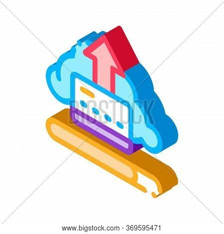 Write-off Data Through Cloud Storage Icon Vector. Isometric Write-off Data Through Cloud Storage Sig