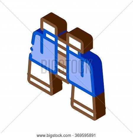 Binoculars Icon Vector. Isometric Binoculars Sign. Color Isolated Symbol Illustration