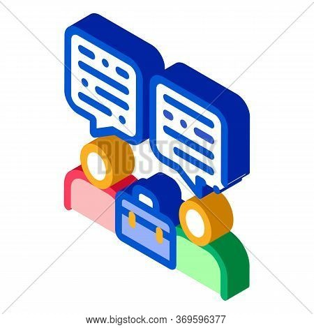 Deal Conversation Of Two Businessmen Icon Vector. Isometric Deal Conversation Of Two Businessmen Sig