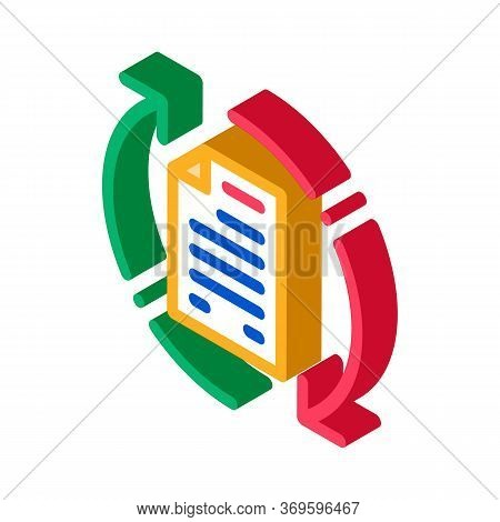 Document Cycle Icon Vector. Isometric Document Cycle Sign. Color Isolated Symbol Illustration