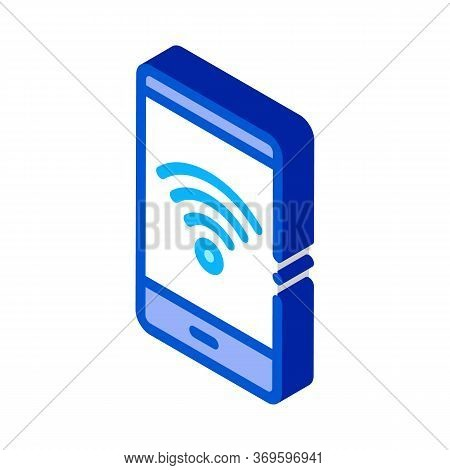 Smartphone Wi-fi Connection Icon Vector. Isometric Smartphone Wi-fi Connection Sign. Color Isolated