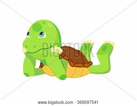Happy Young Cartoon Turtle Lies And Dreaming Or Thinking. Fanny Kid. T-shirt Vector Logo Design