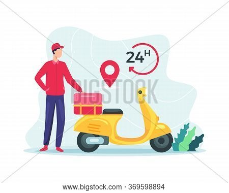 Vector Illustration Fast Delivery Package By Scooter. 24 Hours Delivery Service, Online Delivery Ser