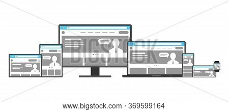 Responsive Adaptive Web Design Template Set. Website On Different Devices. Desktop Monitor, Laptop,