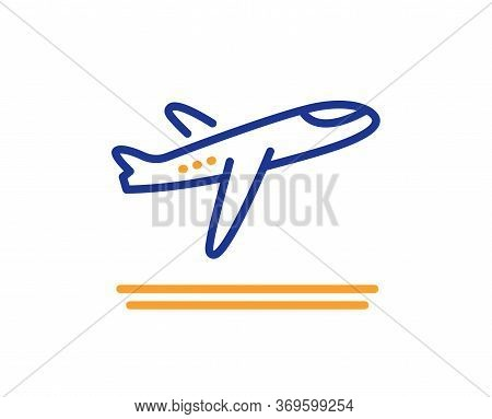 Airport Departure Plane Line Icon. Airplane Take Off Sign. Flight Symbol. Colorful Thin Line Outline