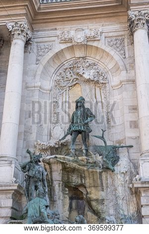 Budapest, Hungary - Feb 9, 2020: Matthias Fountain At Buda Palace On Buda Hill In Winter Time