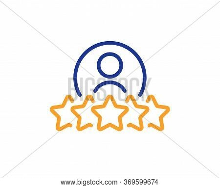 Business Rank Line Icon. Employee Nomination Sign. Human Rating Symbol. Colorful Thin Line Outline C