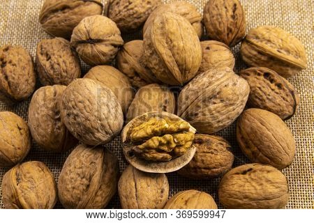 Walnuts On Burlap, Walnut Kernels And Whole. Walnut Healthy And Wholesome Food