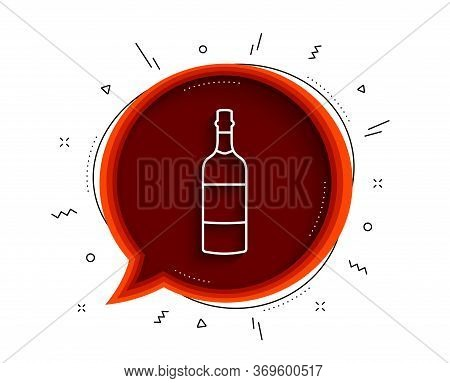 Brandy Bottle Line Icon. Chat Bubble With Shadow. Whiskey Or Scotch Alcohol Sign. Thin Line Brandy B