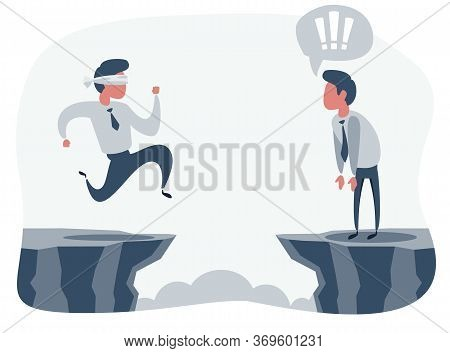 Blindfolded Businessman Run To The Cliff. Business Concept. Vector Flat Design Illustration.