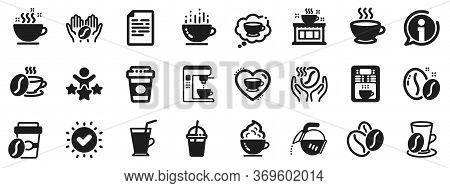 Beans, Hot Cocktail And Coffee Maker Machine. Coffee Icons. Espresso Cup, Cappuccino With Whipped Cr