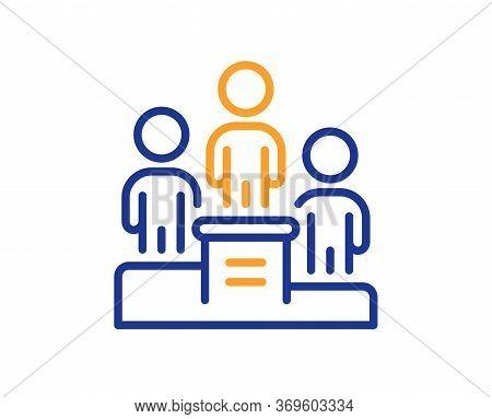 Business Podium Line Icon. Employee Nomination Sign. Teamwork Award Symbol. Colorful Thin Line Outli