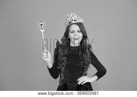 Magic Stick Concept. Cute Kid Doing Magic. Amazing Miracles. Little Child Long Hair. Happy Childhood
