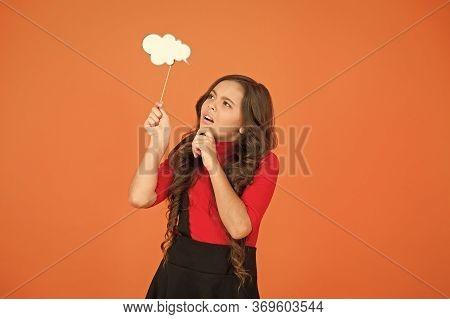 Remembering. Childhood Memories. Speech Bubble. Girl Hold Empty Speech Bubble Copy Space. Text Bubbl