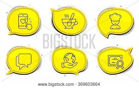 Tea Cup Sign. Diploma Certificate, Save Planet Chat Bubbles. Heart Rating, Talk Bubble And Cooking C