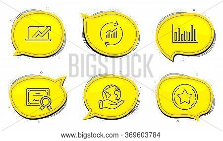 Loyalty Star Sign. Diploma Certificate, Save Planet Chat Bubbles. Bar Diagram, Sales Diagram And Upd