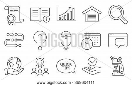 Set Of Technology Icons, Such As Graph Chart, Microscope. Diploma, Ideas, Save Planet. Quickstart Gu
