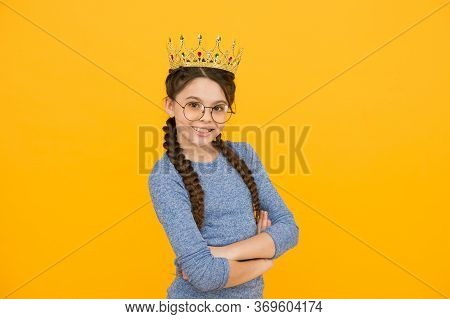 Being Her Own Boss. Little Boss Yellow Background. Happy Child Wear Crown. Beauty Queen. Prom Party.