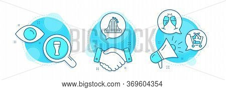 Cross Sell, Beer Glass And Roller Coaster Line Icons Set. Handshake Deal, Research And Promotion Com