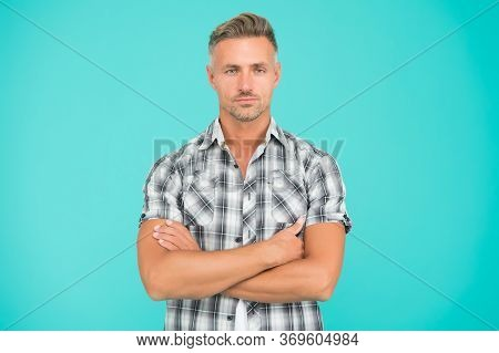 Confident In His Style. Confident Guy Keep Arms Crossed Blue Background. Confident Look Of Fashion M
