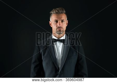 Handsome Tuxedo Man. Formal And Business Fashion. Groomed Male On Special Event. Its Wedding Day. St
