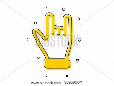 Two Fingers Palm Sign. Horns Hand Icon. Gesture Symbol. Yellow Circles Pattern. Classic Horns Hand I