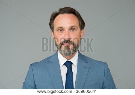 Well Groomed Male. Perfect Beard And Moustache. Serious Mature Man In Shirt. Confident Office Worker
