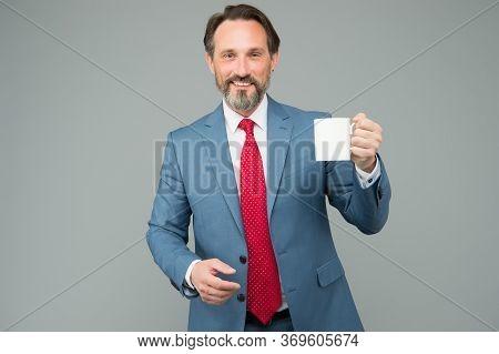 Taste Of Energy. Businessman On Lunch Break. Boss Inspired With Fresh Beverage. Mature Boss Need Mor