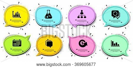 Diagram Graph, Chemistry Lab And Messenger Signs. Chat Bubbles With Quotes. Dollar Exchange, Histogr