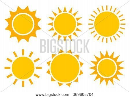 Sun Icons, Summer Set. Yellow And Orange Colors, Different Shapes. Vector Illustration