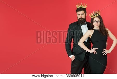 Pride And Egoism. Egoists Wear Crowns Red Background. Couple Of Egoists. Egoist Dream. Prom Party. B