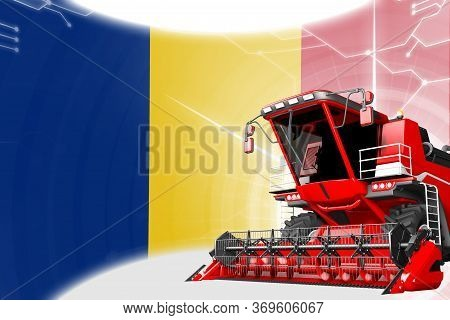 Digital Industrial 3d Illustration Of Red Advanced Rural Combine Harvester On Romania Flag - Agricul