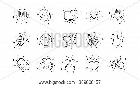 Gift Box, Heart And Romantic Letter. Love Line Icons. Wedding Rings, Glasses With Champagne, Love He