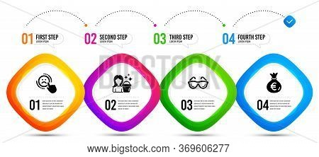 Dislike, Cleaning And Eyeglasses Icons Simple Set. Timeline Infographic. Money Bag Sign. Negative Fe