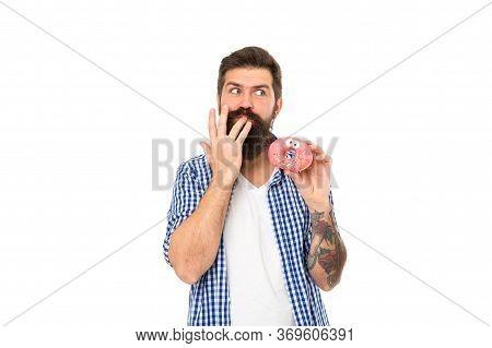 Finger Licking Good Snack. Bearded Man Eat Donut Isolated On White. Hipster Enjoy Sweet Snack. Enjoy