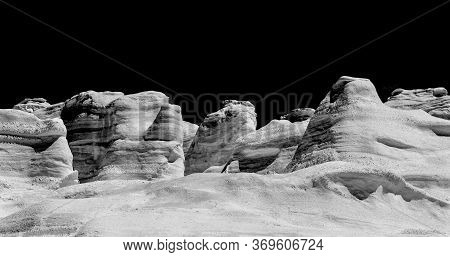 Black And White Moonscape Nature At Sarakiniko, Milos Island, Cyclades, Greece. Milos Is One Of The