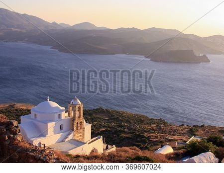 Greek Church View From Plaka Castle In Milos Island, Cyclades, Greece. Milos Is One Of The Southern