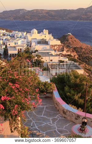Plaka Village Seen From The Castle, Milos Island, Cyclades, Greece. Milos Is One Of The Southern Cyc