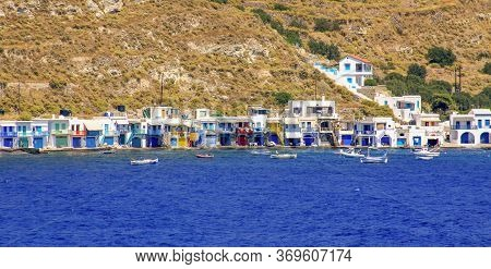 Panoramic Of Traditional Fisherman Village Of Klima Seen From The Sea, Milos Island, Cyclades, Greec