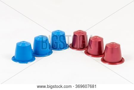 Modern Unbranded Colorful Capsules For Espresso Coffee Machine, Isolated On White Background