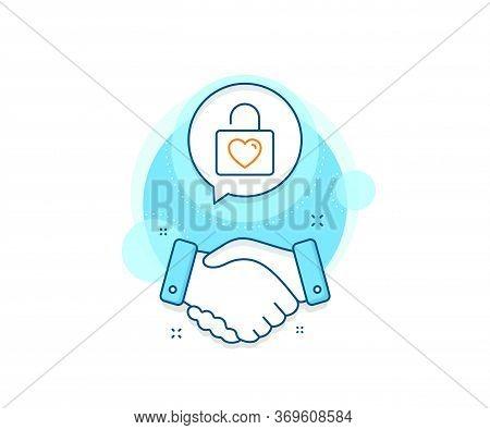 Love Symbol. Handshake Deal Complex Icon. Locker With Heart Line Icon. Valentines Day Or Wedding Sig