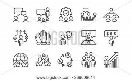 Business People Line Icons Set. Meeting, Job Structure, Team. Group People, Communication, Member Ic