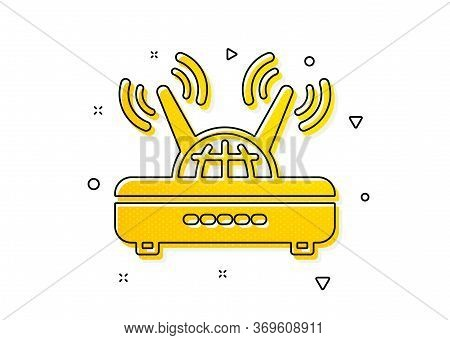 Computer Component Sign. Wifi Router Icon. Internet Symbol. Yellow Circles Pattern. Classic Wifi Ico