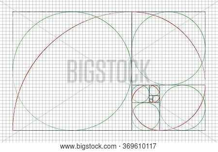 Golden Ratio Spiral. Mathematical Formula To Guide Designers For Harmony Composition. Hand Drawn Edu