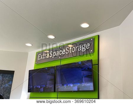 Seattle, Wa/usa-2/19/20: The Sign In The Lobby Of The Extra Space Storage.