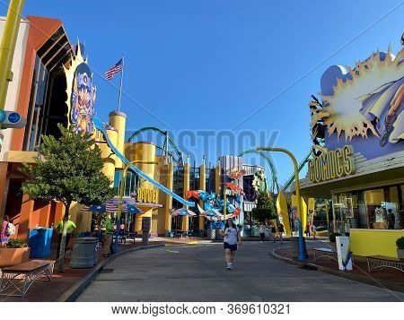 Orlando,fl/usa-2/16/20: The Sidewalk In Front Of The Marvel Area At Universal Studios Resort Theme P