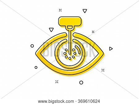 Oculist Clinic Sign. Eye Laser Surgery Icon. Optometry Vision Symbol. Yellow Circles Pattern. Classi